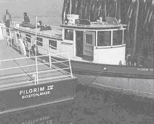 Pilgrim III and IV at the Thompson Island Pier in the 1960s